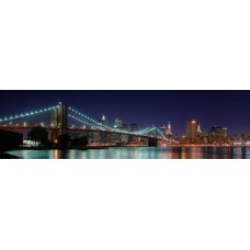 Brooklyn Brug en Manhattan bij nacht - panorama