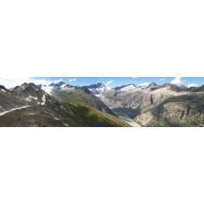 Berglandschap BW - panoramische fotoprint