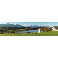 Bergmeertje met kapel - panoramische fotoprint