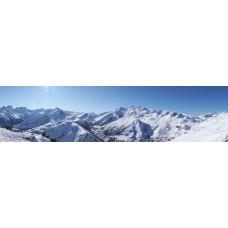 Besneeuwde bergtoppen - panoramische fotoprint