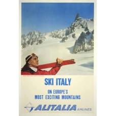 "Alitalia poster ""Ski Italy"" - vijftiger jaren"