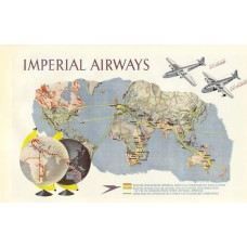 Imperial Airways -  routekaart poster, 1937
