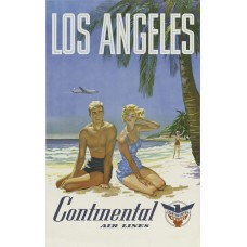 Continental Airlines poster Los Angeles - 1960